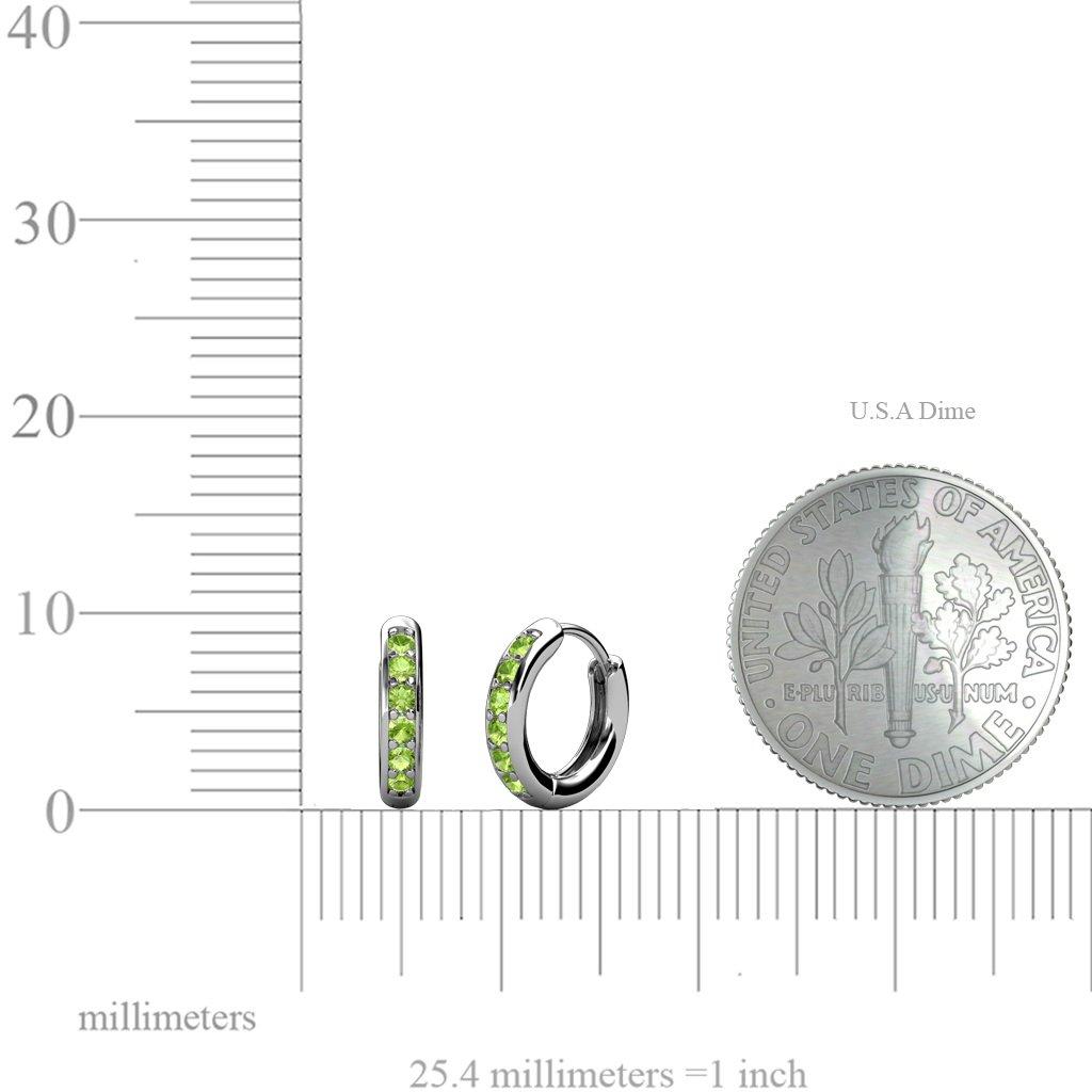 TriJewels Petite Peridot Huggies Hoop Earrings 0.25 Carat tw in 14K White Gold