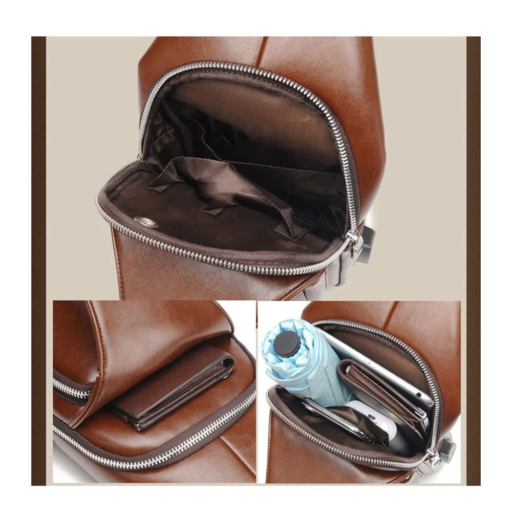 JCXBW Men Chest Bag-Shoulder Bag Genuine Leather Crossbody Sling Bags Backpack Messenger Bag Daypack for Business Casual Sport,Brown,usbstylethree