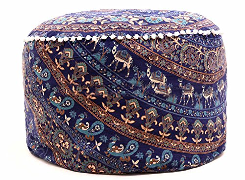 Mandala Indian Decor Cotton Ottoman Cover Round Pouffs Throw Seating Large Floor Pillow Meditation Footstool by Sophia Art