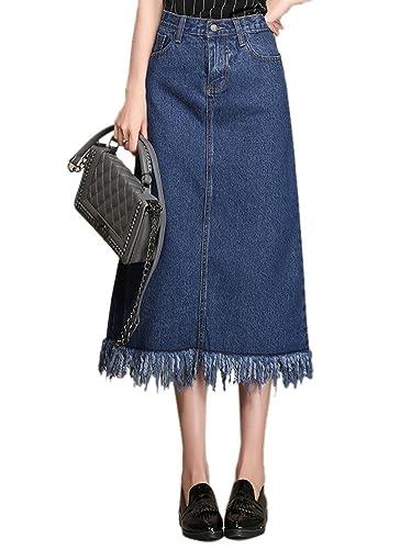 SK Studio Mujer Falda De Cintura Alta Falda Vaquera Larga Azul 40
