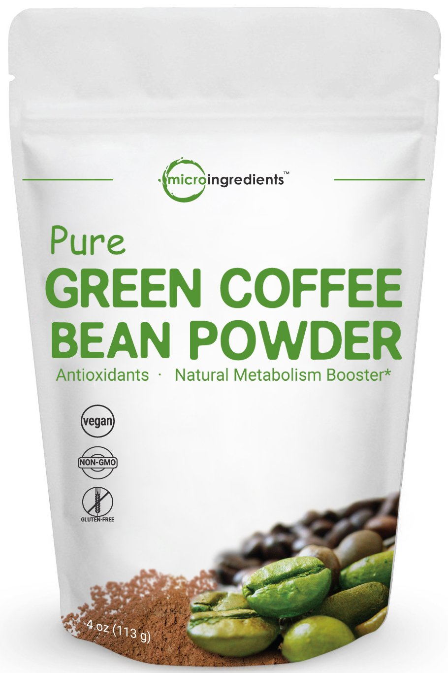 Maximum Strength Pure Green Coffee Bean Super Extract, 4 Ounce, Supports Metabolism for Weight Management and Fat Burn, No GMOs and Vegan Friendly by Micro Ingredients