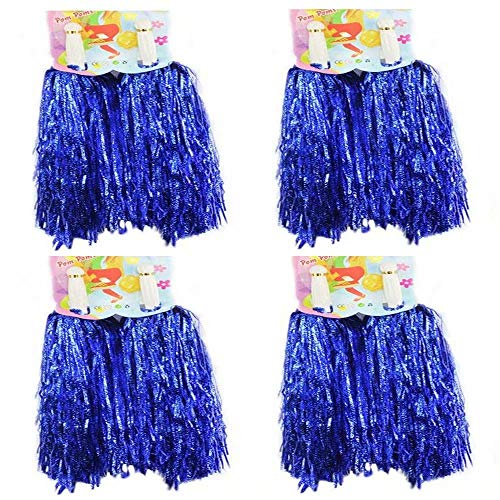 CRIVERS 8pc Cheerleader Pompoms for Ball Dance Fancy Dress Night Party Sports (Blue,50g)]()