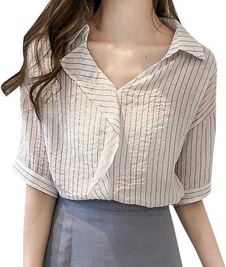 Verano Camisas Moda para Mujer Solapa Medias Blusas Ocio ...