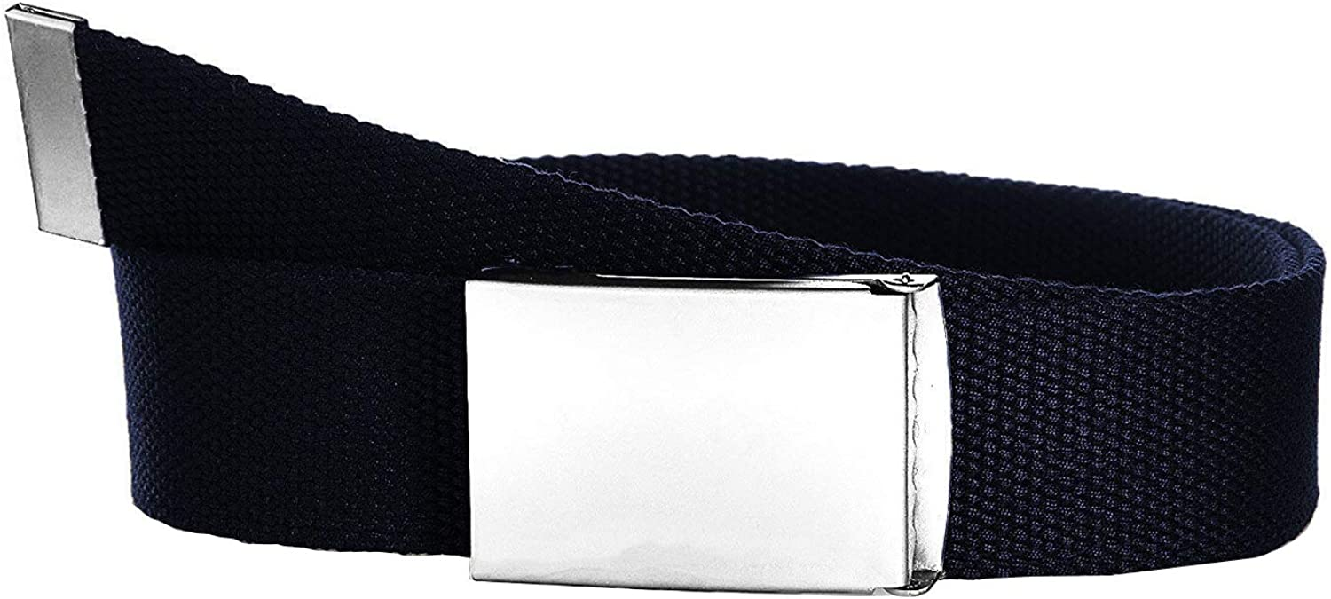 Weddecor Unisex Webbing Belt Fits 26-51 Inches Army Combat Style Cotton Fabric Canvas Material With Shiny Silver Buckle Slide Catch Clamp for Casual Wear