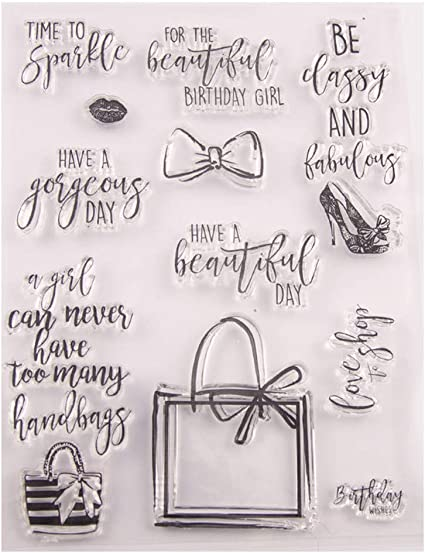 Happy Birthday Handbag Gifts sentiments Stamps Rubber Clear Stamp//Seal Scrapbook//Photo Album Decorative Card Making Clear Stamps