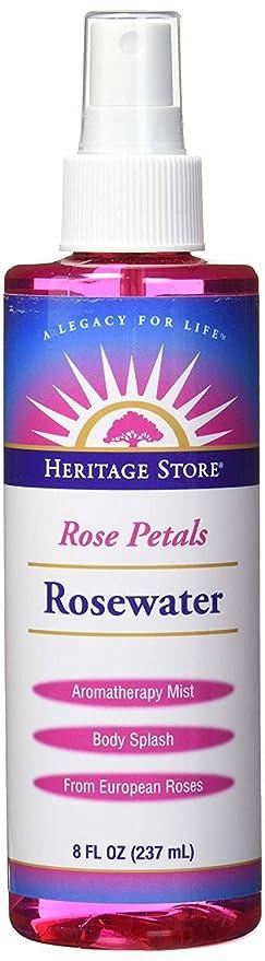 Heritage Store Rose Petals Rosewater | 100% Pure Vegan, Alcohol Free|  Facial Toner & Moisturizer | Helps Skin, Hair & More | Mist Spray Btl | 8 oz