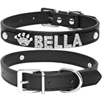 Didog Smooth PU Leather Custom Dog Collars with Rhinestone Personalized Name Letters,Fit Small Medium Dogs,Black,L Size