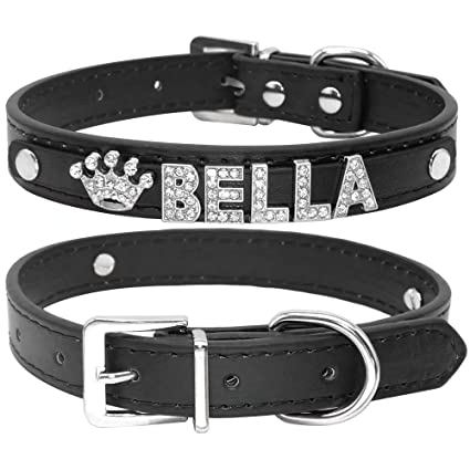 7be482bcc5 Didog Smooth PU Leather Custom Dog Collars with Rhinestone Personalized  Name Letters,Fit Small Medium Dogs