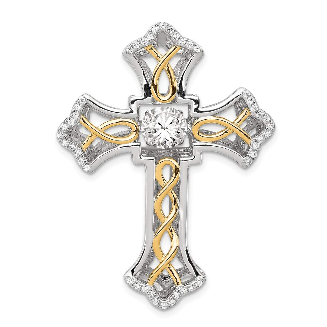 925 Sterling Silver Platinum Plated Plshed Gold Vibrant Cubic Zirconia Cz Cross Religious Pendant Charm Necklace Latin Fine Jewelry Gifts For Women For Her