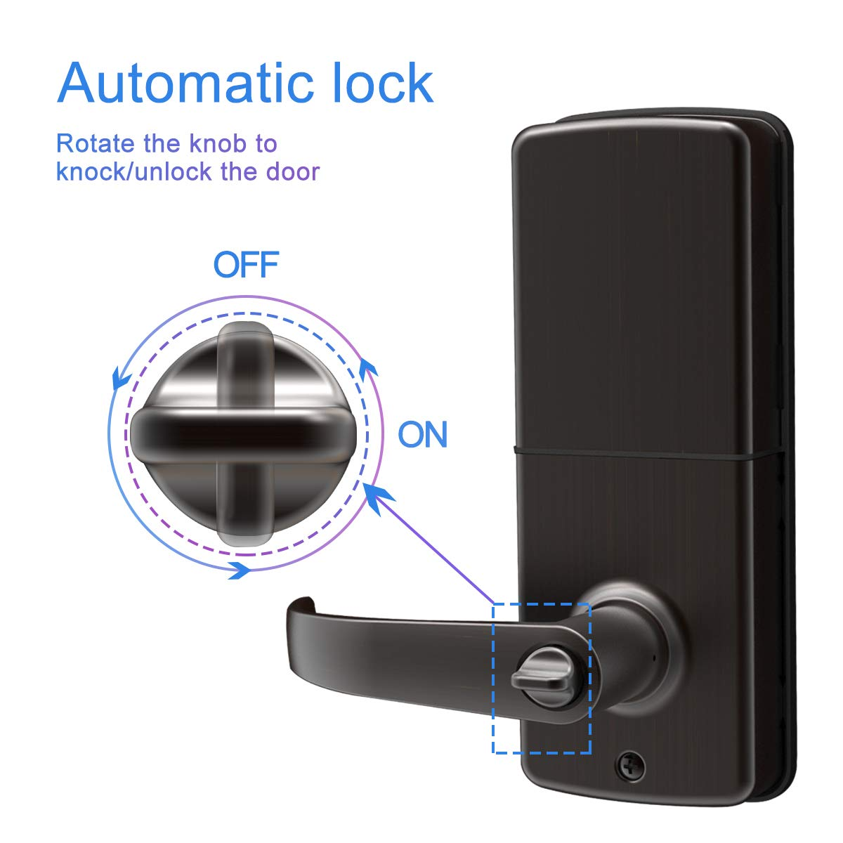 Signstek Keypad Entry Lever Door Lock with LED Backlit Keypad Password/Key Accessibles, Oil Rubbed Bronze by Signstek (Image #3)
