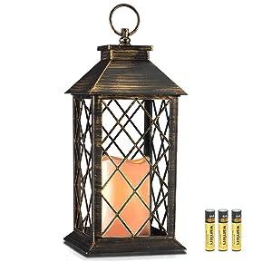 14'' Golden Brushed Vintage Candle Lantern with Flickering Flameless Led Plastic Lantern Metallic Coating 4 Hours Timer,Battery included Indoor&Outdoor Hanging Lantern-Decorative lantern holder
