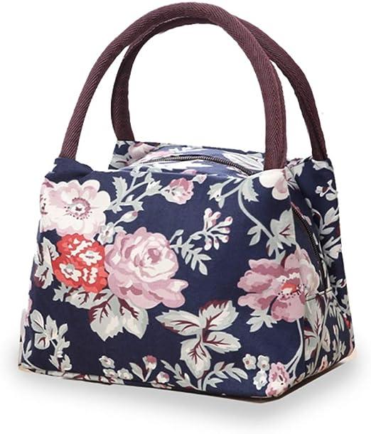 Rose Print Lunch Bag Women Portable Lunchbox Girls School Food Storage Totes
