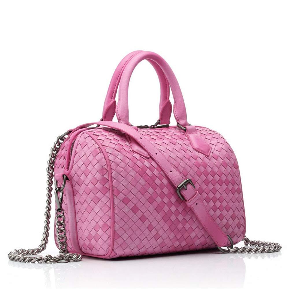 女性のピンクの織物のハンドバッグカジュアルな対角線のバッグレザーハンドバッグ人工織りのショルダーバッグファッション バッグ (色 : ピンク) B07L96TWTK ピンク