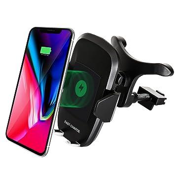 Inalámbrico cargador de coche Haissky Qi cargador rápido Wirelss–Soporte de coche, Estándar para iPhone X/8/8 Plus y Dispositivos Qi, Carga Rápida ...