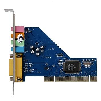 SODIAL(R) 4 Canales C-Media 8738 Chip 3D Tarjeta de sonido PCI interna de audio estereo Win7 64 Bit