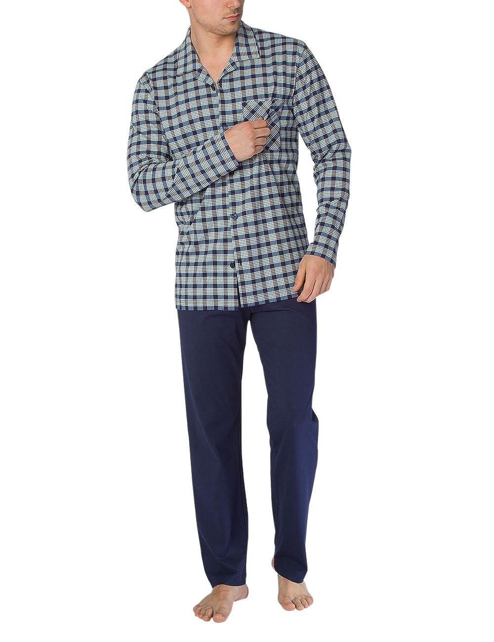 Mehrfarbig (Dark Blau 449) Calida Bill Herren Pyjama ZWeißeiliger Schlafanzug