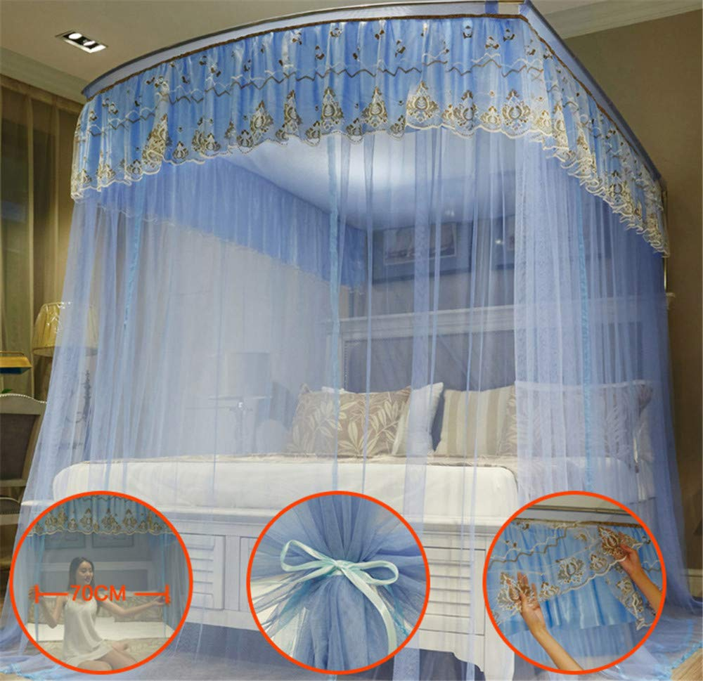 Retractable u-Type Mosquito net Double Bed net Palace net Outdoor Mosquito net Travel Mosquito net Mosquito net, Blue, L (120-245Adjustment) W200cm by RFVBNM Mosquito net (Image #3)
