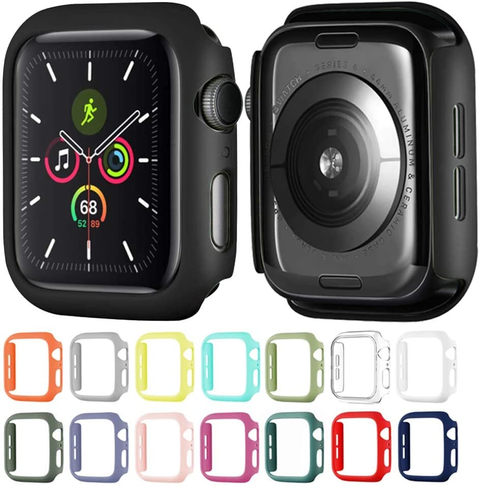 Hontao Hard Matte Case Buit in Thin Protective Cover Compatible Apple Watch 38mm iWatch Series 3 2 1 (Black 38mm)