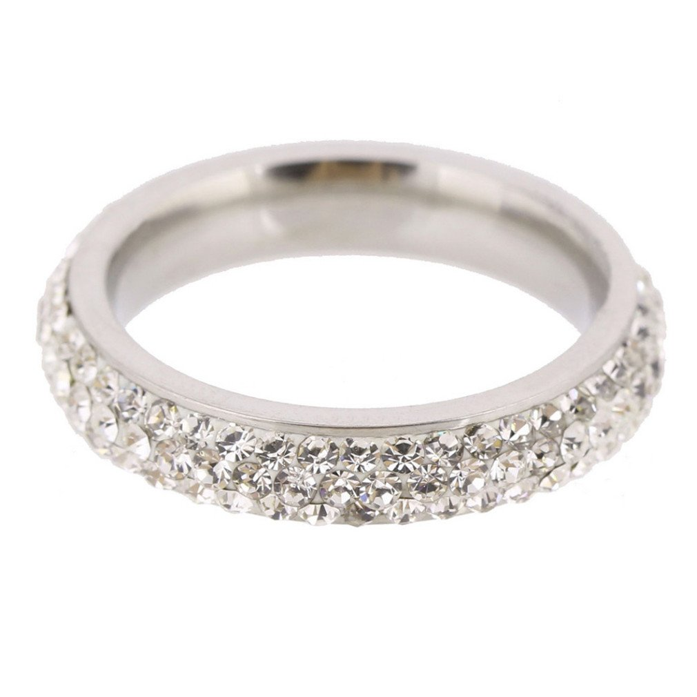 DARLING HER Three Row Clear Crystal Stainless Steel Wedding Rings Jewelry Made With Genuine CZ Crystals white 6.5