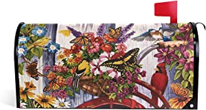 Winter Christmas Garden Cardinal Bird Welcome Mailbox Covers Magnetic Wraps Post Box Cover Wrapped Standard Size for Outdoor Garden Yard Decor Butterfly Farmhouse 20.7x18.03 inch 2090314