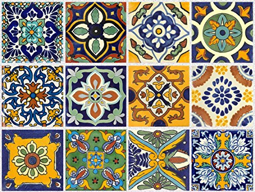 Tile Stickers Mexican Spanish 40pc 4-1/4in Peel and Stick for kitchen and bath Tr002-4Q by SnazzyDecal (Image #7)
