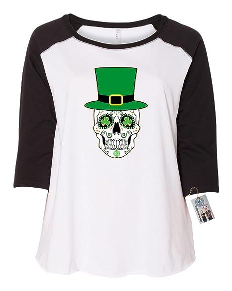 f8d4c589e1771 St Patricks Sugar Skull Clover Shirt Plus Size Womens Raglan Sleeve T Shirt  Black White 1X