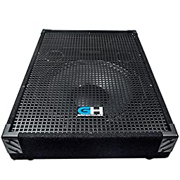 Grindhouse Speakers - GH15M-Pair - Pair of 15 Inch Passive Wedge Floor / Stage Monitors 400 Watts RMS each - PA/DJ Stage, Studio, Live Sound 10 Inch Monitor