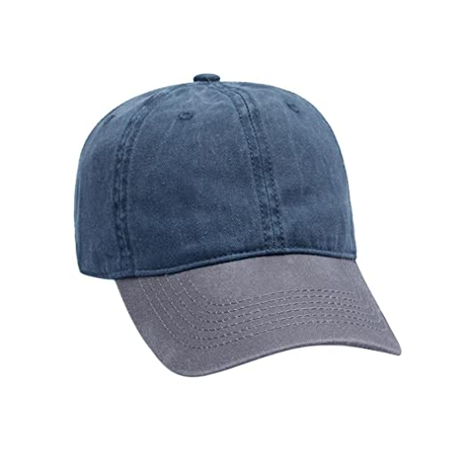 18ee320e Amazon.com: Challyhope Baseball Hats, Unisex Vintage Wash Denim Patchwork  Twill Cotton Baseball Cap Duck Cap Adjustable Casual Dad Hat (A): Clothing