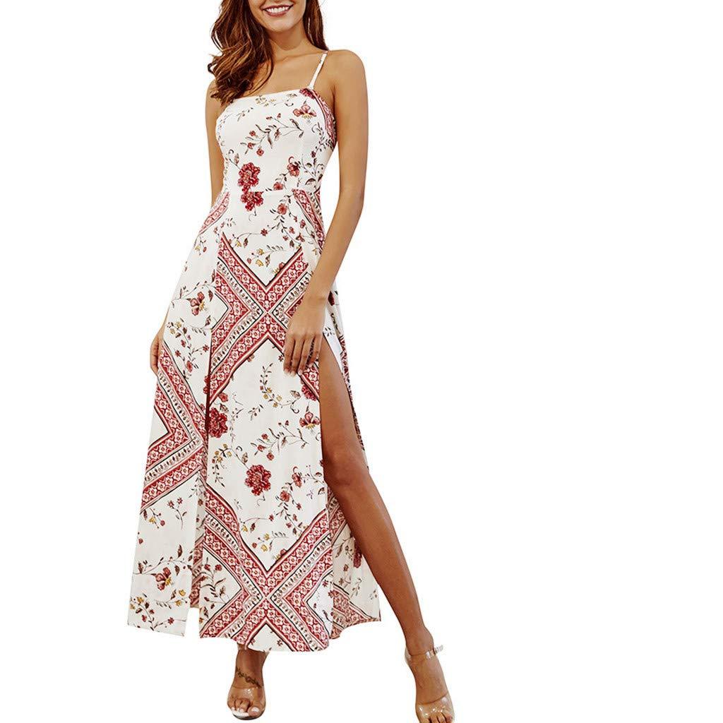 Womens Strap Dresses Floral Printting Off Shoulder Split Party Bodycon Slim Slit Long Dress (L, White) by KoLan Women Dress (Image #1)
