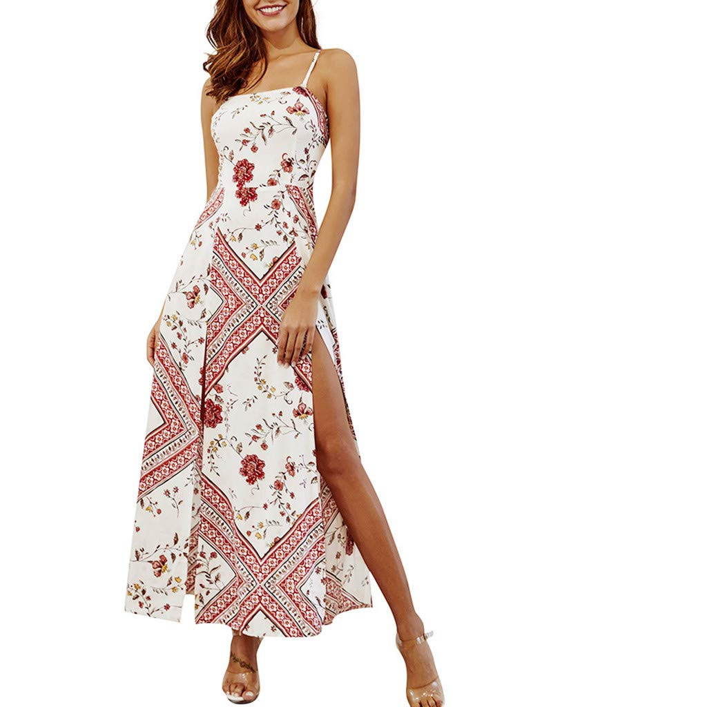 Womens Strap Dresses Floral Printting Off Shoulder Split Party Bodycon Slim Slit Long Dress (L, White)