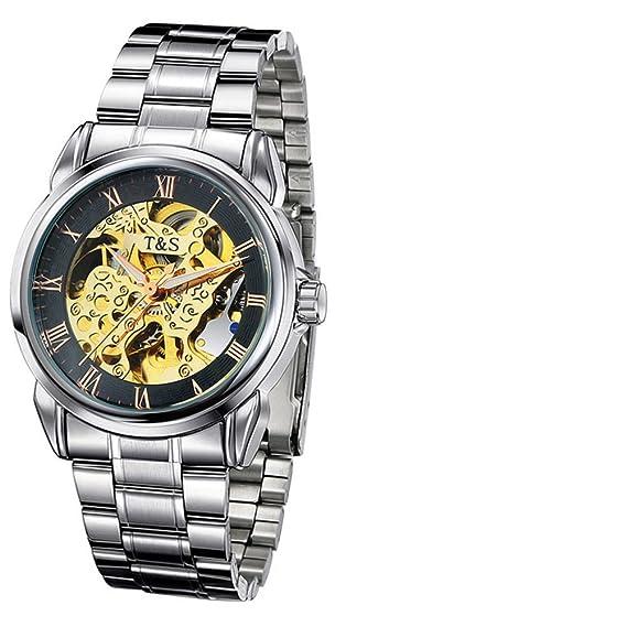 Poesía cutáneo hueco correa impermeable de los hombres reloj automático relojes relojes moda casual hombres ver-J: Amazon.es: Relojes