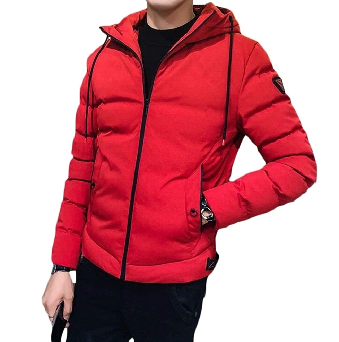 Jmwss QD Mens Plus Size Solid Hooded Warm Zip Front Quilted Jacket Coat Outerwear