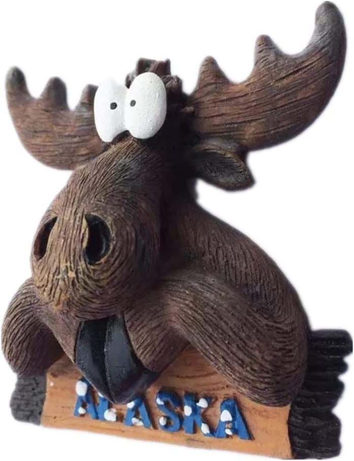 Elk Alaska America USA Fridge Magnet 3D Resin Handmade Craft Tourist Travel City Souvenir Collection Letter Refrigerator Sticker