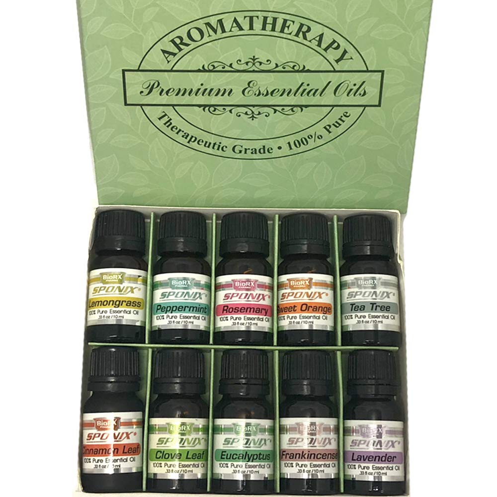 Top Essential Oil Gift Set - Best 10 Aromatherapy Oil - Therapeutic Grade - Eucalyptus, Peppermint, Lemongrass, Rosemary, Lavender, Frankincense, Orange, Tea Tree, Clove and Cinnamon - 10 mL by Sponix 195