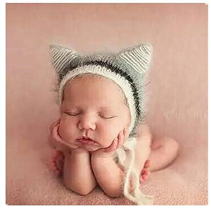 Bebé recién nacido fotografía apoyos niño Niña Gorro de Crochet disfraz  trajes Cute gris Talla mediano Binlunnu 4a3cba02946