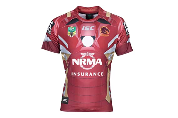 d5b9c6e5563 Brisbane Broncos 2017 NRL Iron Man Marvel S/S Ltd Edition Rugby Shirt - Red  - Size 4XL: Amazon.co.uk: Clothing