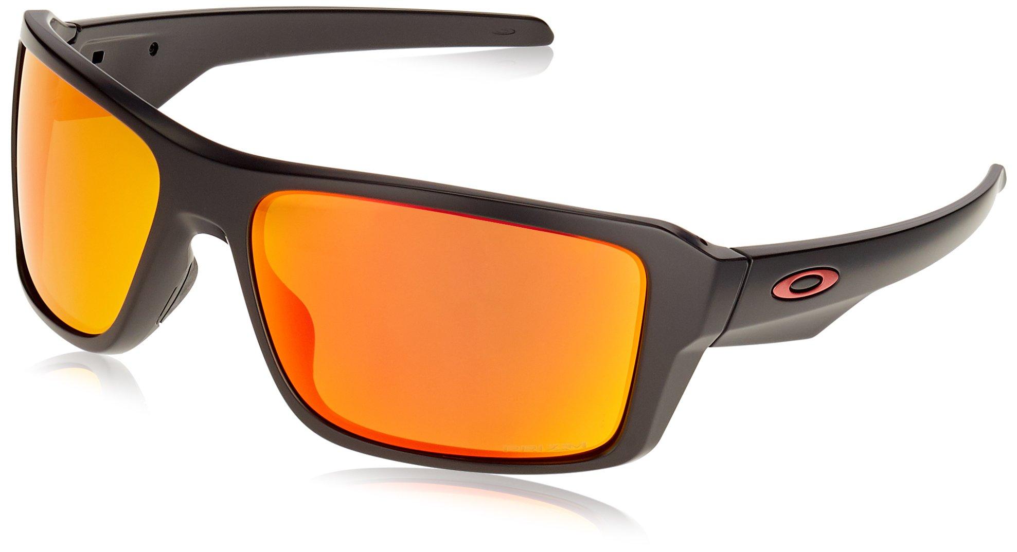 Oakley Men's Double Edge Iridium Rectangular Sunglasses, Matte Black/Prizm Ruby Polarized, 66.02 mm