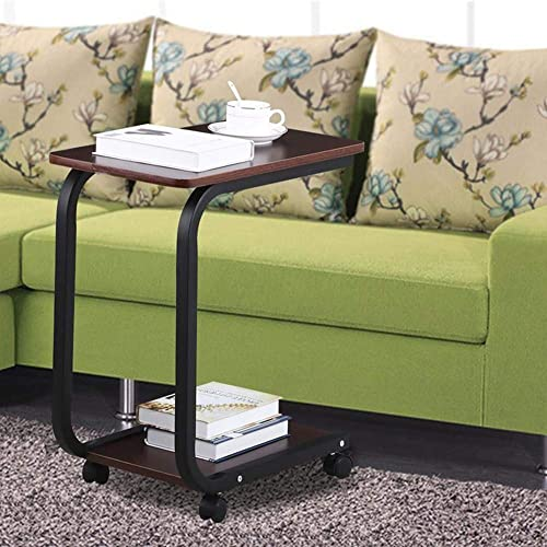 Goujxcy Mobile Side Table, C Style Couch Laptop Coffee Snack Table with Wheels for Home Room Office Coffee