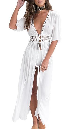 Minetom Mujer Verano Boho Largo Noche Fiesta Vestido de coctail Vestido de playa Sundress Blanco ES