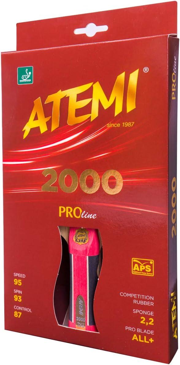 Atemi Proline 2000 Peso Ligero Raqueta De Tenis De Mesa |Control Y Poder Superior |Goma Aprobada Por La ITTF |Materiales Naturales |Ideal Para Todos Los Niveles |Empaque Colores Y Manijas ACTUALIZADAS
