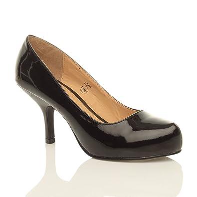 91e4e9930feb3 Ajvani Womens Ladies Low mid Kitten Heel Concealed Platform Smart Work Party  Evening Court Shoes Pumps Size: Amazon.co.uk: Shoes & Bags