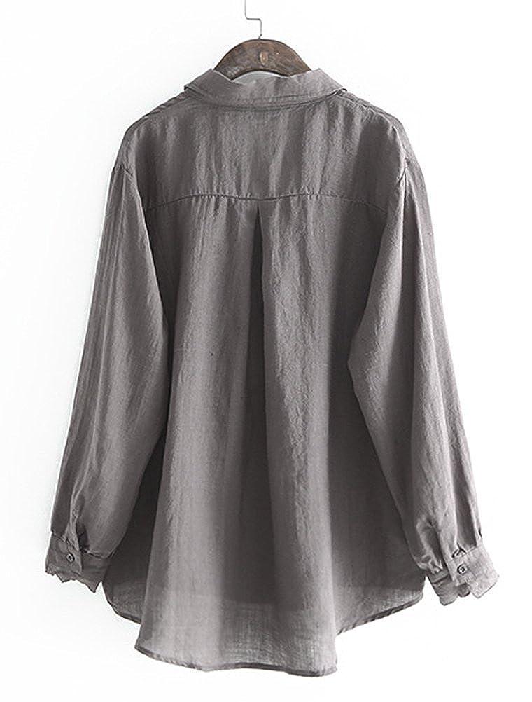 MatchLife Damen Leinen Blusen Elegant Langarm Freizeit Oberteil Lose Langarmshirt Tunika Hemd mit Taschen
