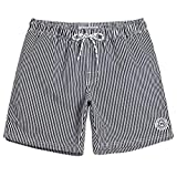 MaaMgic Mens Boys Short Swim Trunks Srtiped Mens Bathing Suits Slim Fit Swim Shorts Swimsuit for Men