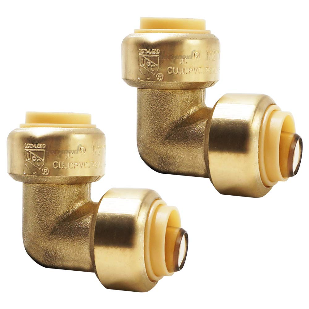 Horiznext 1/2 inch 90 Degree Angle pushfit Elbow, Lead-Free Copper, for cpvc pex Poly tubing (Pack of 2)