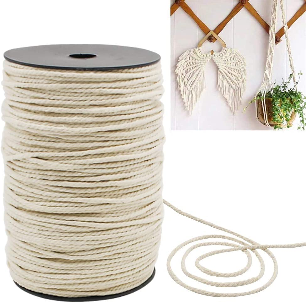 Natural Macrame Cotton Cord 3mm x 218 Yard Black Macrame Cotton Rope Twine String Craft Cord for Wall Hanging Plant Hangers Gift Wrapping and Decor Projects Supply