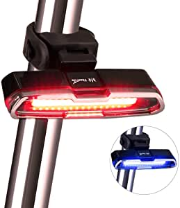 Bike Tail Light, Thorfire Bike Light USB Rechargeable, Red/Blue 5 Light Modes Bicycle Rear Light Headlights High Intensity LED Cycling Safety Flashlight Light Fits on Bikes, Helmets, Easy to Install