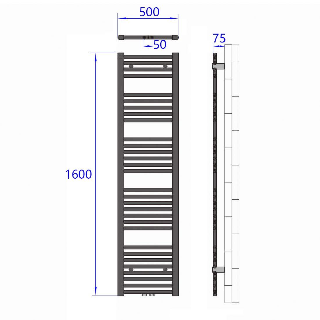 40x100cm 481 Watt EMKE Handtuchtrockner Badheizk/örper Heizk/örper Leistung Wei/ß Bad-Heizk/örper Mittelanschluss