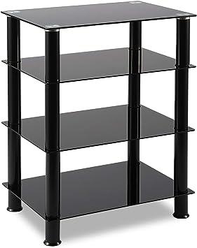 RFIVER Mueble HiFi Mesa TV Cristal con 4 Estantes para Equipos de Música 60 x 42 x 75.5 cm HF1001: Amazon.es: Electrónica