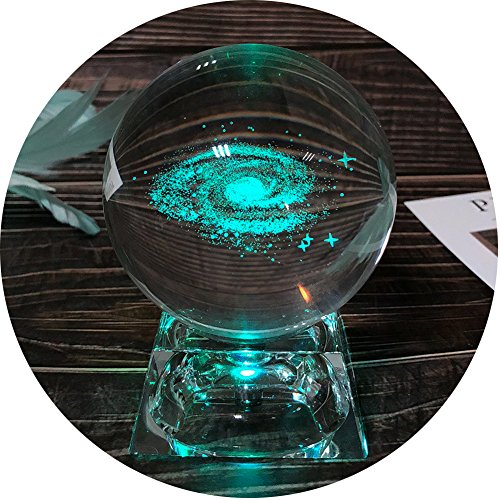 3D Galaxy Crystal Ball Night Lamp, Clear 80mm (3.15 inch) Galaxy Glass Ball with Colorful LED Base, Best Birthday Gift for Kids, Teacher of Physics, Girlfriend Gift, Classmates and Kids Gift