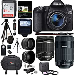 Canon EOS 70D 20.2 MP DSLR Camera AF Full HD 1080p Video + EF-S 18-55mm f/3.5-5.6 IS STM Lens + 55-250mm Image Stabilizer Zoom Lens + Polaroid .43x Wide Angle & 2.2X High Telephoto Lens Accessory Kit